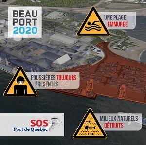 Affichette informative de Nature Québec sur fond d'une photo aérienne. La partie ajoutée est colorée en rouge-brun. « Une plage emmurée - Poussières toujours présentes - Milieux naturels détruits ».