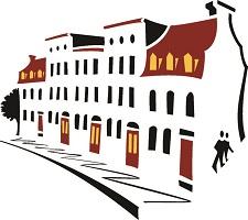 Dessin simple et coloré de cinq domiciles côte-à-côté, en angle, avec un trottoir. Toits et portes rouges.</body></html>