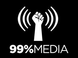 Logo 99% Média : poign blanc duquel jaillit des ondes sonores (lignes courbes blanches).
