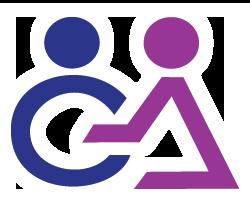 Logo : lettre O en bleu marin et A violet, mais montée d'une tête chacune, représentée par un simple cercle plein.