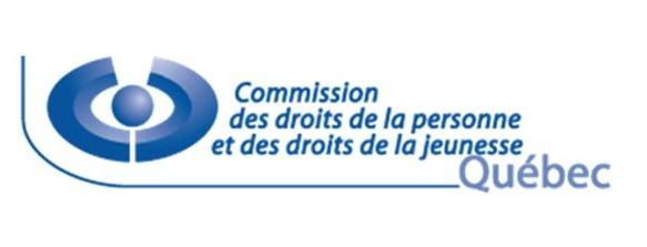 Logo de la CommisionDPDJ - Québec : un oval large, bleu, autour d'un rond ; ressemble à un oeil ou à deux bras au-dessus d'une tête.