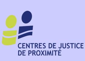 Logo des Centres de justice de proximité, sur fond mauve pâle : deux cercles et bases carrées côte-à-côte représentant deux individus, un jaune, l'autre bleu marin.</body></html>