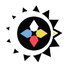 Logo du Cercle Kisis : quatre pointes (points cardinaux) : blanche, jaune, rouge, bleu. Autour, un cercle de petites pointes noires, comme une icône du Soleil.