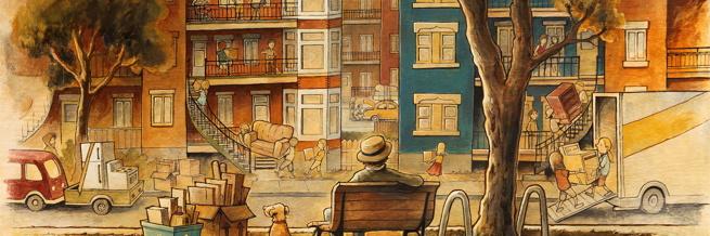 Bannière : beau dessin, peinturé, d'habitations typiques côte-à-côte, avec un monsieur assis sur un banc de parc, un chien, des gens qui emménagent, etc.