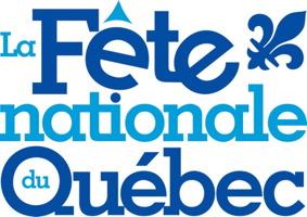 Logo : La Fête nationale du Québec. Fleur de lys bleu marin. Le tout sur fond blanc.