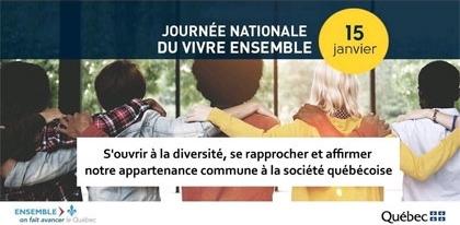 Affichette officielle : dessin de cinq jeunes de dos, bras dessus bras dessous. Trois garçons, deux filles, aux chevelures différentes. « S'ouvrir à la diversité, se rapprocher et affirmer notre appartenance commune à la société québécoise »