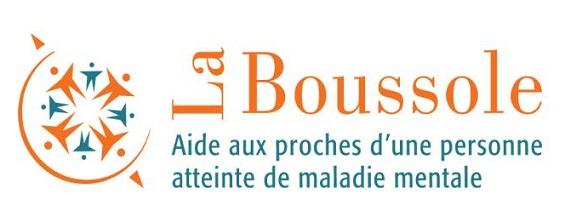 Logo : La Boussole - Aide aux proches d'une personne atteinte de maladie mentale. Le dessin est huit petits bonhommes mais placés comme huit directions d'une boussole, avec une flèche vers le nord et une vers le sud.
