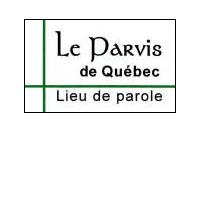 Le Parvis de Québec - Lieu de parole.  Deux lignes vertes traversent tout le logo et se croisent sur le côté gauche.
