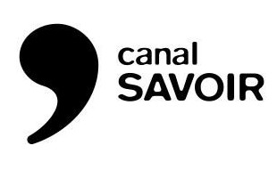 Logo « canal SAVOIR ».  Gros apostrophe noir au-dessus.