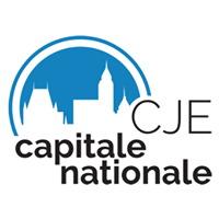 Logo « CJE capitale nationale ». Silhouette du Château Frontenac et d'une église, couleur bleu ciel foncé.