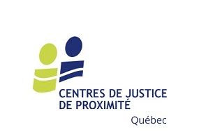 Logo : deux cercles et formes géométriques ressemblent à deux personnes côte à côte, inégales, mais rejointes par une ligne traversante. Une est jaune-verte, l'autre bleu foncée. Centres de justice de proximité