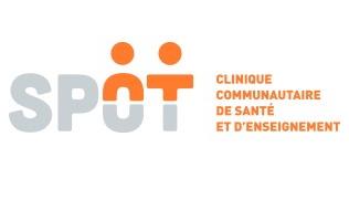 Logo: le O et le T ont un rond, comme une tête de personnages. Clinique communautaire de santé et d'enseignement.