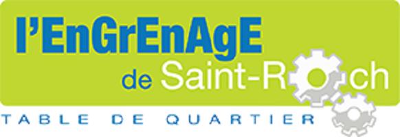 bannière du site de l'organisme : le o dans Saint-Roch est remplacé par deux roues d'engrenage.- L'Engrenage de Saint-Roch - Table de quartier.