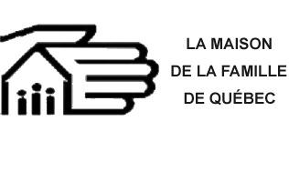 logo: La Maison de la Famille de Québec. Dessin simple d'une main géante couvrant une petite maison triangulaire contenant trois petits personnages.