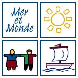 Logo de l'ONG Mer et monde : quatre carré, chacun contenant un petit dessin. 1) Mer et monde ; 2) soleil jaune ; 3) un homme et une femme se tenant par la main. Vêtements colorés. ; 4) petit bateau à voile.