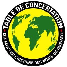 Logo : Table de concertation du Mois de l'histoire des Noirs de Québec. Écrit autour d'un cercle noir. Au milieu, une carte du monde verte sur fond jaune. On voit surtout l'Afrique.