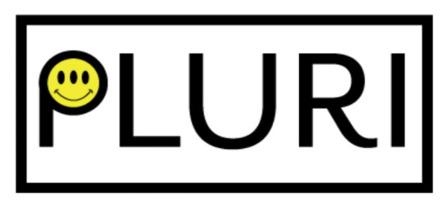 Logo PLURI : la partie ronde du P est un visage sourire, mais avec trois yeux.