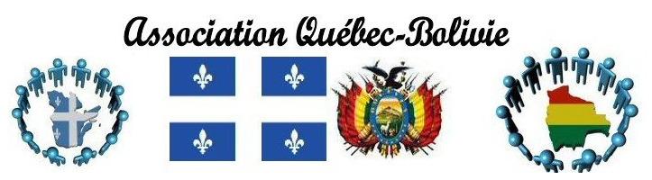 Bannière du site a-q-b.org : drapeau du Québec. Emblême complexe pour la Bolivie : un aigle noir au-dessus d'une peinture ovale d'une montagne; le tout entouré de fanions rouge, jaune et vert. Dessin informatique aussi de bonhommes bleus en cercle autour des deux pays en question (représentés par leur forme géographique respective).