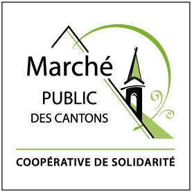 Logo : dessin d'un pignon vert sur un toit représenté par un triangle. Une ligne verte courbe encercle le pignon. Coopération de solidarité.