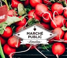 Affichette carrée : logo du Marché public Limoilou sur un tas de légumes ronds très rouges, surtout des radis.