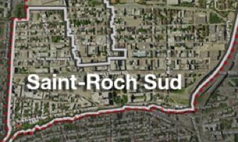 Photo aérienne du quartier : une ligne rouge délimite.</body></html>