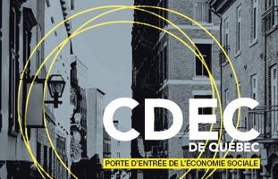 Image avec le logo de la CDEC de Québec. Rue avec immeubles d'habitation en tons de gris. Trois cercles minces de couleur jaune traversent la photo. « Porte d'entrée de l'économie sociale »