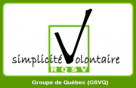 Logo: « simplicité volontaire »  Le V forme un crochet dans une case de vote verte. « RQSV - Groupe de Québec (GSVQ) »