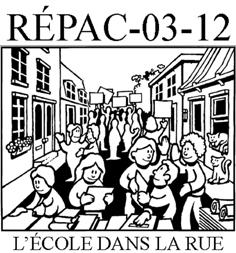 Logo du RÉPAC 03-12 : dessin blanc-noir de gens sur la rue urbaine qui lisent et échangent des livres. « L'école dans la rue »