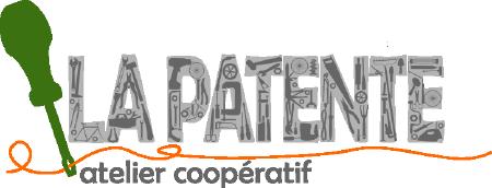 Logo : dessin d'une tournevis vert. La Patente, en lettres majuscules grises, dans lesquelles on discerne des rouages, outils, etc. « atelier coopératif »