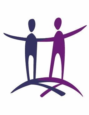 L'image du logo : deux bonhommes allumettes, unis par les bras, un bleu-mauve et l'autre violet.