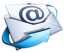 Icône d'une enveloppe blanche sur laquelle est affiché un arobas bleu. Une flèche bleue la contourne.