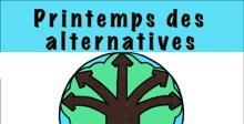 [ Affiche : dessin à la main d'un arbre brun à cinq branches en formes de flèches, sur fond de feuillage uni vert pastel.]