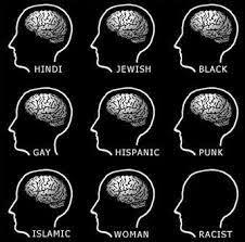 Neuf dessins identiques représentant simplement une tête dans laquelle on voit le cerveux (blanc sur noir). Chacune a un titre, comme Hindou, Juif, Noir, etc. Celle avec le titre Raciste n'a pas de cerveau.
