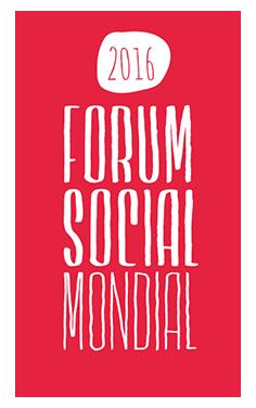 Logo: en lettres roses un peu difformes. 2016 - Forum social mondial