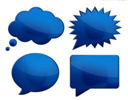 Dessin infographique simple de quatre bulles de paroles de couleur bleu foncé.</body></html>