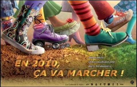 Image thématique de la Marche mondiale des femmes 2010: des souliers en marche, très variés et colorés