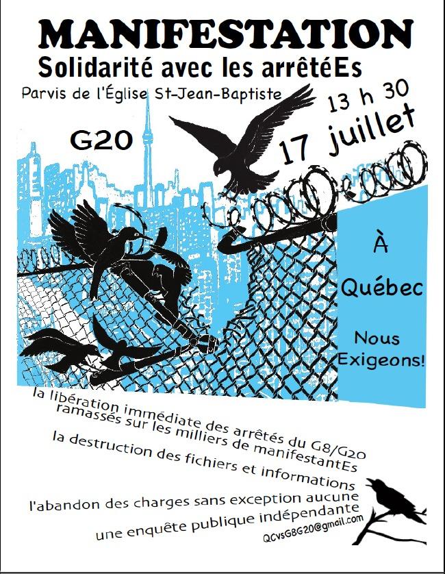 Reprend l'affiche de la mobilisation anti-G20 mais avec les info pour cette action: sur fonds des formes bleutées de ville urbaine torontoise, on voit trois oiseaux luttant ensemble pour briser une clôture.