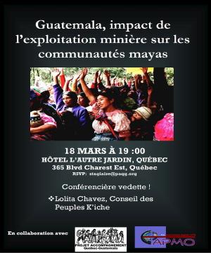 Affiche : photo de femmes mayas, chacune la main levée comme pour un vote à main levée. Guatemala, impact de l'exploitation minière sur les communautés mayas