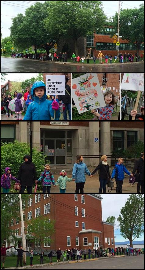 Mosaïque de 5 photos de juin 2015: trois sont des parents et enfants se tenant la main devant leur école ; 1 est un enfant tenant une affiche Je protège mon école publique ; 1 autre enfant souriante avec une pancarte colorée avec des coeurs Je protège mon école publique. Très belles photos.