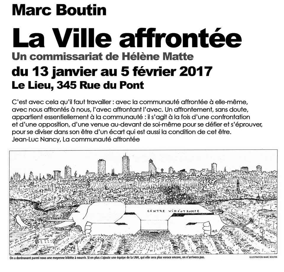 Affiche en noir sur blanc : dessin détailée de la ville de Québec du ciel à partir de Saint-Roch vers le Complexe G. Il y a un court texte non transcrit ici.