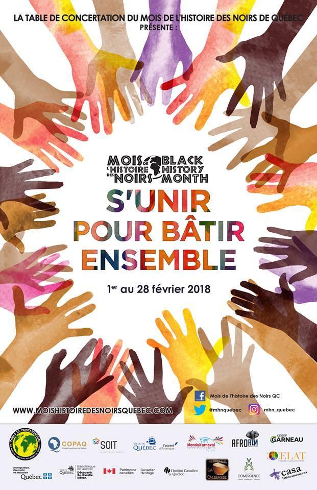 [ Dessin d'une trentaine de mains de couleurs très différentes, toutes ouvertes et dirigées vers le centre. « S'unir pour bâtir ensemble ». Mois de l'histoire des Noirs. De nombreux logos (16).]