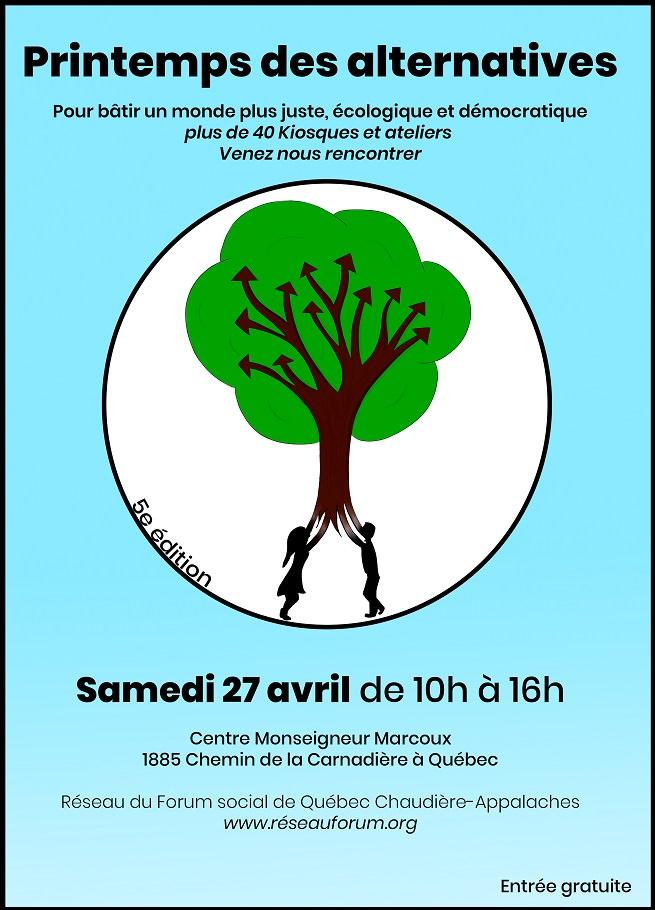 [ Affiche sur fond turquoise : grand cercle blanc avec un dessin au centre. Un arbre brun, à grand feuille vert, dot les branches sont des flèches courbées. Deux enfants, fille et garçon, tiennent les racines comme on tient un ballon qui s'envole.]