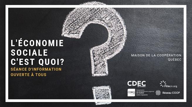 Affichette sur fond marbré gris foncé : un énorme point d'interrogation ? dessiné à la craie. Logo : CDÉC ; POLE Capitale-Nationale ; CRDQ 03-12 ; Réseau COOP.