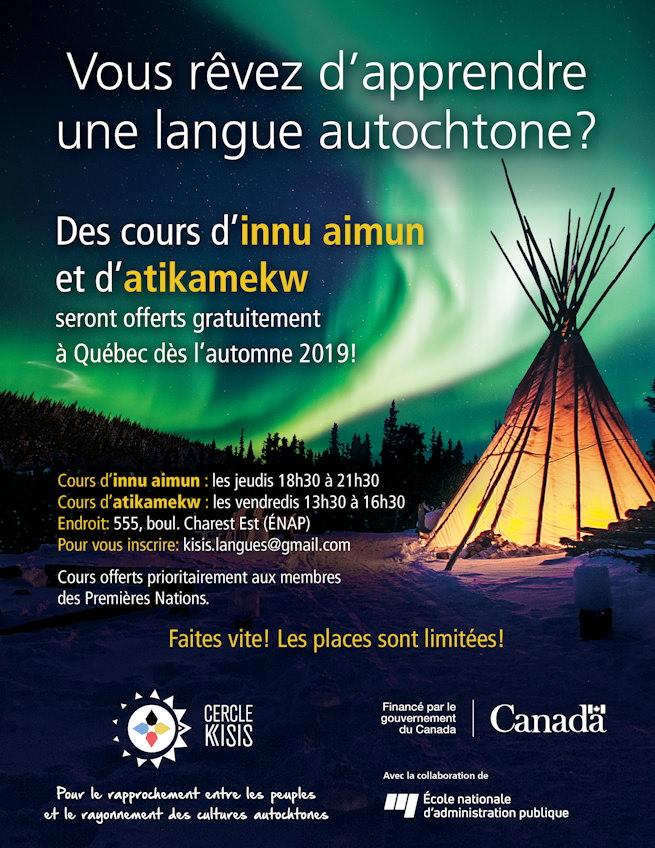 Affiche : photo d'un tipi éclairé de l'intérieur, la nuit, avec une aurore boréale verdâtre dans le ciel. « Vous rêvez d'apprendre une langue autochtone ? ». Logo Cercle Kisis, Patrimoine Canada, ENAP.