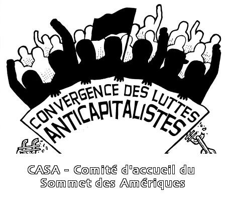 Image - logo de la Convergence des luttes anticapitalistes: une forme de foule aux poings levés avec un drapeau noir. Sous-titre: CASA - Comité d'accueil du Sommet des Amériques