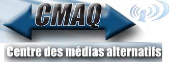 [image - logo du Centre des médias alternatifs du Québec: simple CMAQ avec un peu de couleur, et le logo du réseau Indymedia: un i avec des vagues de sons]