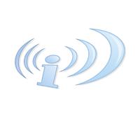 Un i avec des ondes arrondies sur son côté gauche et droite. Il s'agit en fait du logo du réseau Indymedia, mais avec un style bleuté et dégradé élégant