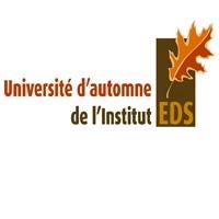 Logo de cet événement « Université d'automne de l'Institut EDS ». Feuile d'érable orange-brun sur un rectable brunâtre.