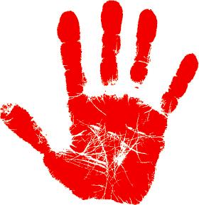 logo: empreinte rouge d'une main