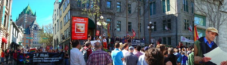 17 mai 2008 - Journée internationale contre l'homophobie, à Québec [trois photos] i- la manif vue de devant avec le Chateau Frontenac derrière. ii- la foule vue de dos, amassée devant l'Hôtel de Ville de Québec iii- cheveux courts, casquette beige, lit un poème [suivre le lien].